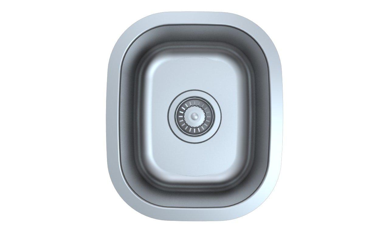 Z Series Stainless Steel Kitchen Bar Prep Sink Milan 13 x 14 5/8 Inch Undermount Single Bowl With Strainer
