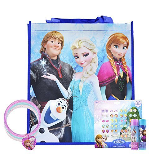 Disney Frozen Party Favors, Sticker Earrings, Glitter Bracelets, and Lip Balm, PLUS Frozen Bag
