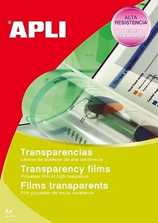 APLI 1216-Transparencias banda superior para inkjet 20 hojas ...