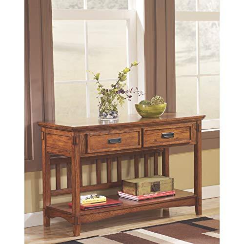 Ashley Furniture Signature Design – Cross Island Sofa Console Table – Vintage Casual – Medium Brown