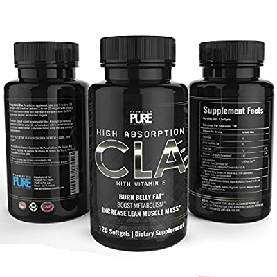 Paradigm Pure CLA Complex 1000mg, 120 soft gels, Increase Lean Muscle Mass, Burn Stubborn Belly Fat, Conjugated Linoleic Acid, All Natural Weight Loss and Fat Burner Supplement with Vitamin E, Non GMO Safflower Oil Formula, 100% Money Back Guarantee*