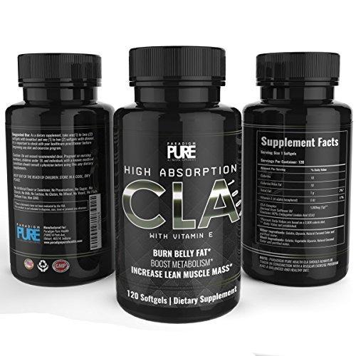 Paradigme Pure CLA supplément, augmenter la masse musculaire maigre, Burn Fat tenaces ventre, perdre du poids, conjuguée de l'acide linoléique, tous naturel perte de poids et Fat Burner supplément, Non OGM carthame huile formule, 120 gélatineuses molles,