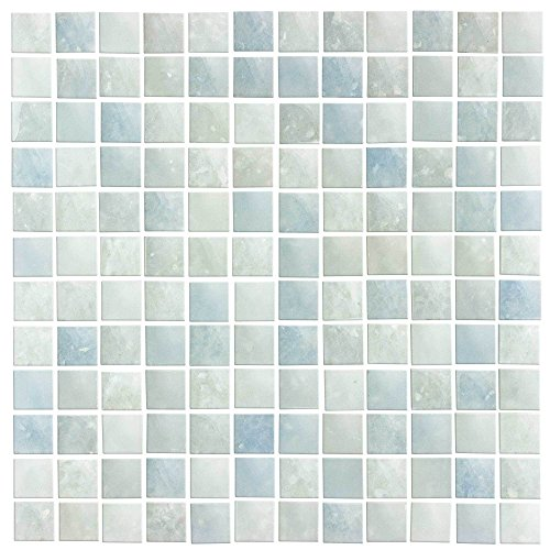 MTO0065 Contemporary Squares Blue Gray Frosted Glass Mosaic Tile