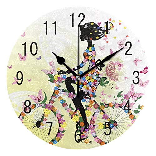 (ALAZA Home Decor Romantic Girl Bicycle Butterfly Round Acrylic Wall Clock Non Ticking Silent Clock Art for Living Room Kitchen Bedroom)