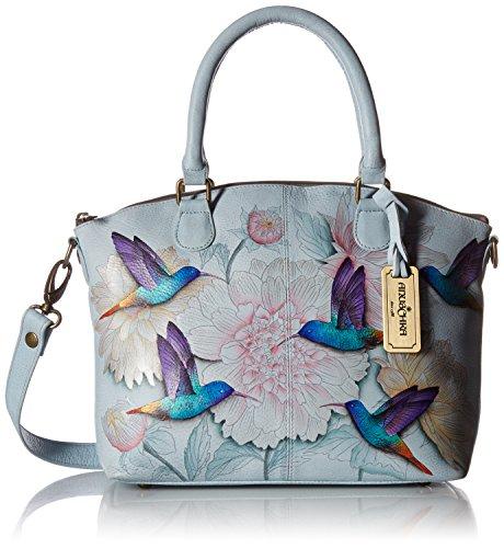 Anuschka Hand-Painted Leather Medium Convertible Satchel | Top Handle Shoulder Bag/Purse | Rainbow Birds