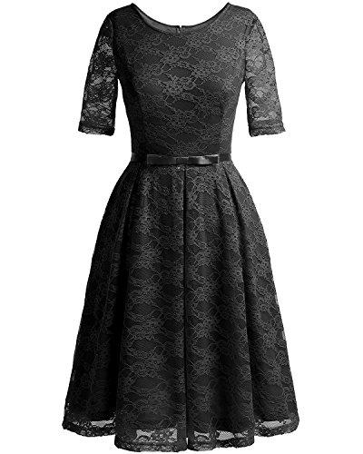 black bridesmaid dress with short sleeves - 7