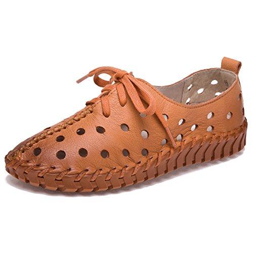 Tacón Claro bajo Ocio Zapatillas Marrón De Cuero Moda Mujer De Deporte Hueco Zapatos Shenn qOC1EHwn