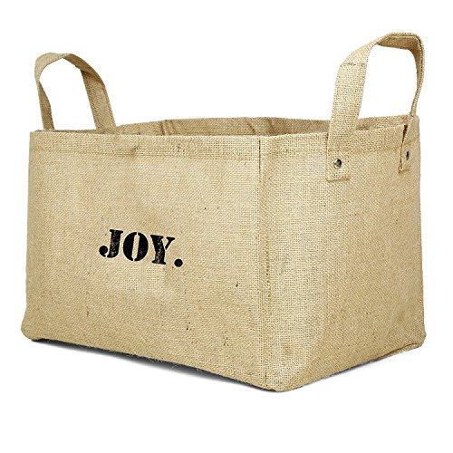 Jute Storage Baskets Collapsible Kids containers Baby Closet Organizer Toy Bins Cube Box (Joy)
