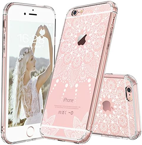 MOSNOVO iPhone 6S Case/iPhone 6 Clear Case, White Henna Mandala Floral Lace Clear Design Printed Transparent Plastic Back Phone Case with TPU Bumper ...