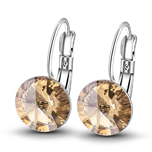 - Women Girls Love Leverback Drop Large 14mm 3 Times Rhodium Plated Bella Hook Earrings Made with Swarovski Elements (yellow)