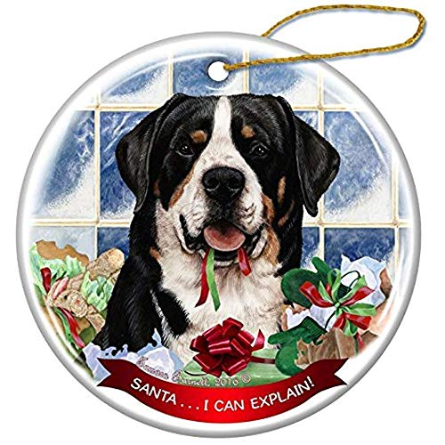 Cheyan Greater Swiss Mountain Dog Porcelain Hanging Ornament Pet Gift Santa I Can Explain for Christmas Tree and Year - Swiss Ornament Mountain Dog