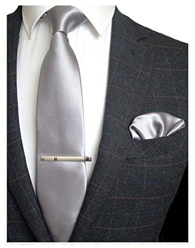 Squares Tie (JEMYGINS Mens Formal Silver Necktie and Pocket Square, Hankerchief and Tie Bar Clip Sets (6))