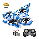 Zego F22 Remote Control Drone for Kids and Beginner Jet with 360° Flip, 2.4GHz 6-Axis Gyro Control System and 4 Blade Propellers and 2 Batteries,Best Gift for Kids (Blue)