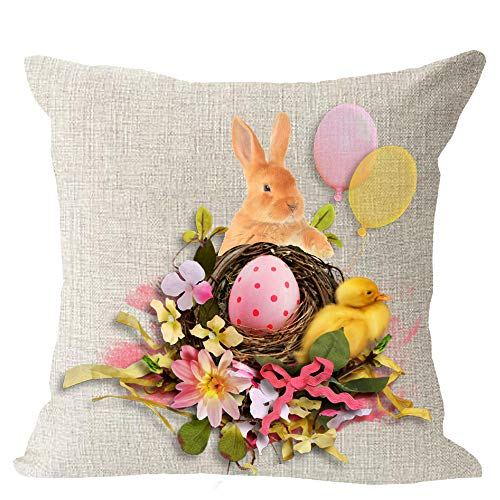 Happy Easter Colored Eggs Cute Animal Bunny Rabbit Duck Bubble Blessing Gift Cotton Linen Square Throw Waist Pillow Case Decorative Cushion Cover Pillowcase Sofa 18