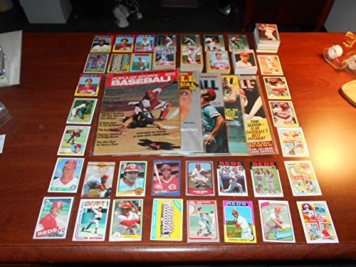 Cincinnati Reds Baseball Lot 5 1970s Magazines with Johnny Bench and Pete Rose Covers + Over 300 Reds Baseball Cards including Multiple Barry Larkin Rookies RC