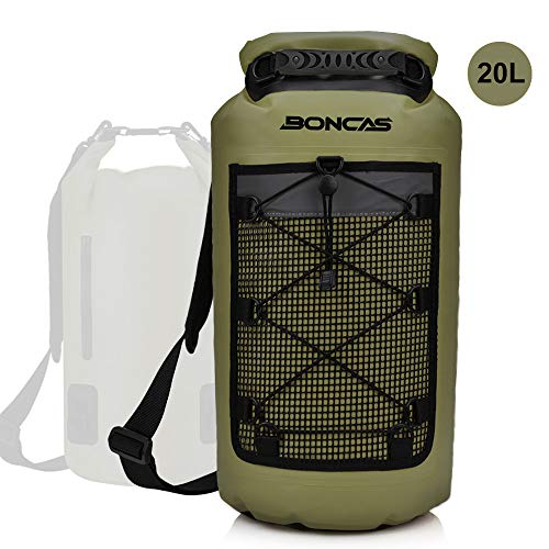 Boncas Waterproof Backpack, 20L Dry Bag with Waterproof Phone Pounch, Roll Top Bag Dry Sack Waterproof Dry Bag Perfect for Kayaking, Fishing, Rafting-Green