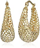 14k Yellow Gold Mesh Diamond-Cut Hoop Earrings