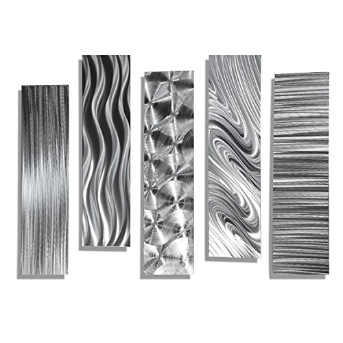 Statements2000 Silver Metal Wall Art Decor, 5 Piece Set of Contemporary Wall Art by Jon Allen Metal Art - 5 Easy Pieces ()