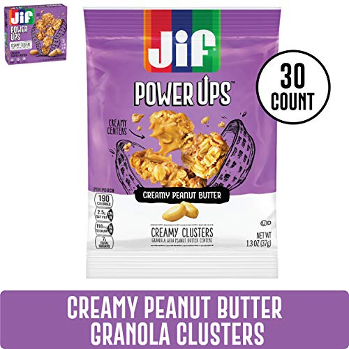 Jif Power Ups Creamy Granola Clusters, Peanut Butter, 30 Count, 6g of Protein, No Corn Syrup