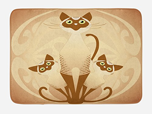 Ambesonne Animal Bath Mat, Three Cats Feline Familly Asian Siamese Babies Kittens with Ivy Background, Plush Bathroom Decor Mat with Non Slip Backing, 29.5 W X 17.5 W Inches, Tan and Pale Brown by Ambesonne