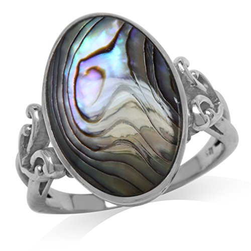 Abalone/Paua Shell Inlay White Gold Plated 925 Sterling Silver Victorian Style Heart Knot Ring Size 9 (Abalone White Ring)
