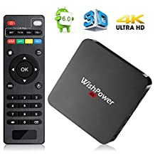 Android TV BOX, Wishpower New Smart TV Box Android 5.1 Quad Core 1G/8G UHD 4K Streaming Media Player TV Box with WiFi, HDMI, DLNA