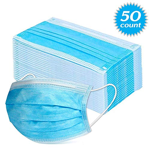 Blue 50PCS Mask 3-ply for Daily Use & Family Care