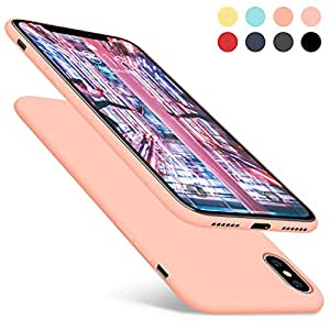 DTTO iPhone X Case, [Romance Series] Liquid Silicone Gel Rubber Anti-Scratch Shockproof 5. 8 Inch iPhone Case for Apple iPhone X with Honeycomb Grid Pattern, Rose Gold