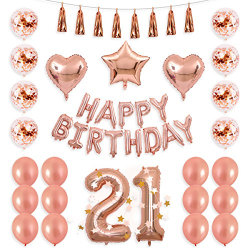 Birthday 21st Heart (BALONA 40inch Rose Gold 21st Number Balloon 12inch Rose Gold Confetti Balloon with Happy Birthday Banner Star Balloon Heart Balloon Foil Rose Gold Tassel Garland for Birthday Party Decoration (Rose21))