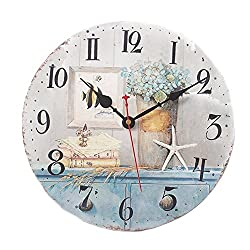 Wood Wall Clock, 14 inches Retro Style Non Ticking Silent Quartz Decorative Wall Clock for Room and Kitchen