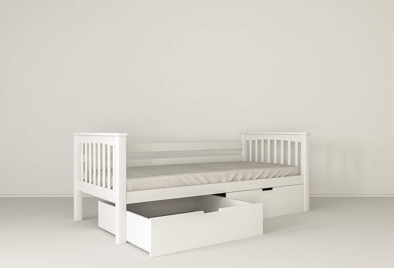 mobi furniture Dynamic24 - Cama Infantil (90 x 200 cm, Incluye somier, Madera de Haya Maciza, con Cama Adicional), Color Blanco