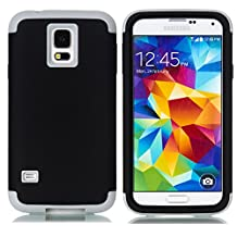 Galaxy S5 Case,LUOLNH 3-Piece High Impact Hybrid Defender Case For Samsung Galaxy S5 i9600 (not fit Galaxy S5 mini 2014)(Black+Grey)