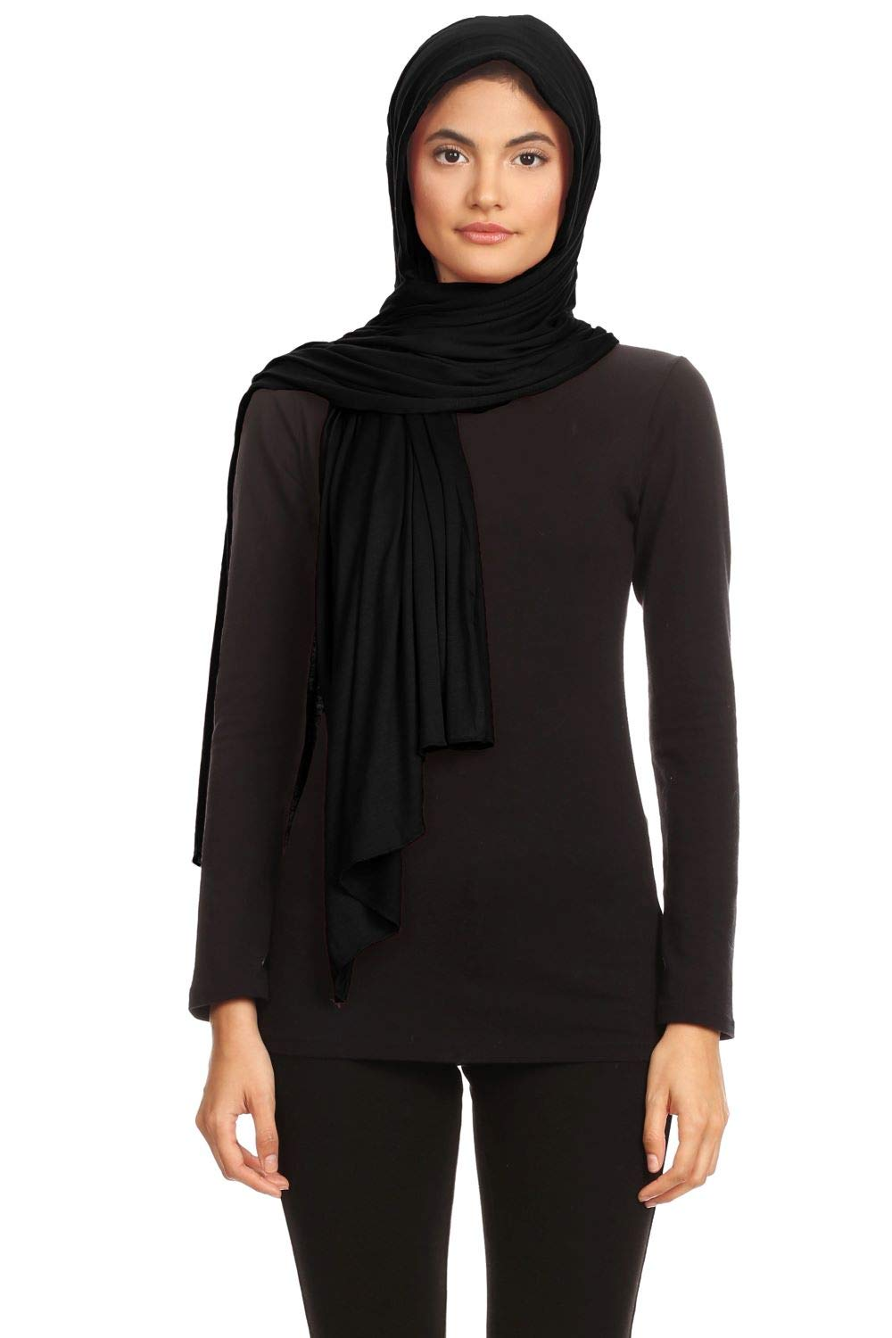 Abeelah Jersey Hijab Scarf - Made in the USA - Islamic, Muslim, African and Indian Fashion Compatible Black,Large