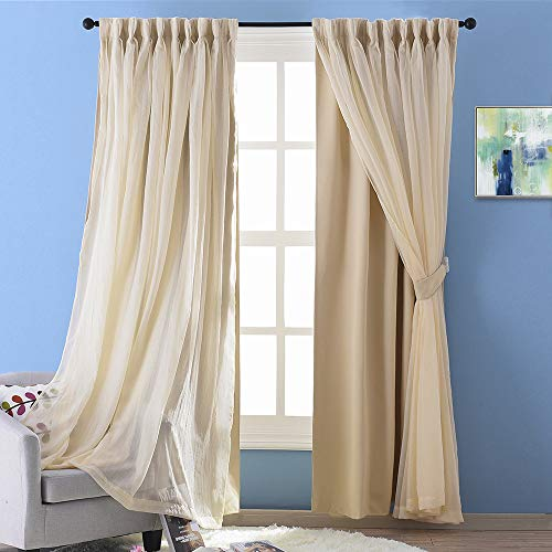 NICETOWN 2 Layers Drape Mix & Match Elegance Home Decor Window Treatment Drape Biscotti Beige Crinkled Voile and Blackout Curtain Panel with Free Tie-Backs (1 Piece 2-Layer Panel, 84 inch Long)