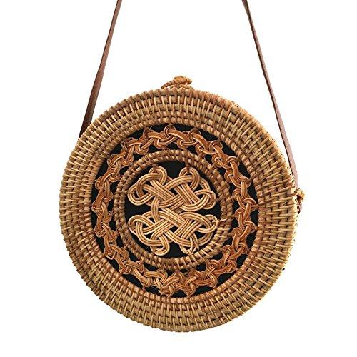Handbag Round Beach Bags Prosperveil Shoulder Woven Straw Messenger Rattan Women Summer 13 No IwEfBqpC