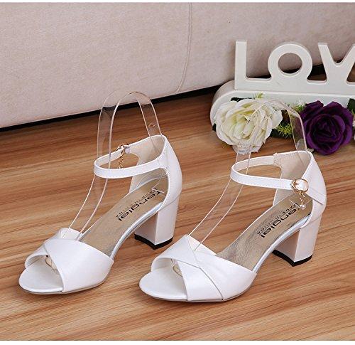 Grobe zehe donna donne tallone sandali tallone bianchi per sandali tinta unita Shoe e shaoge signorina Colore talloni la Medie 15ZWCBq