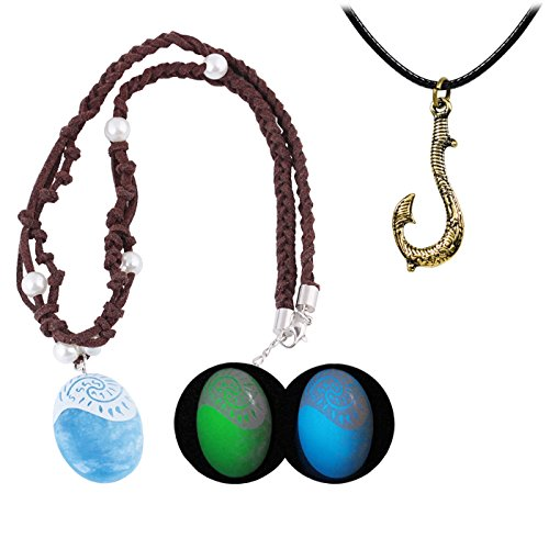 T-PERFECT LIFE Hero Magic Fish Hook and Polynesian Princess Luminous Seashell Necklace 2 Set for Kids (Green light)]()