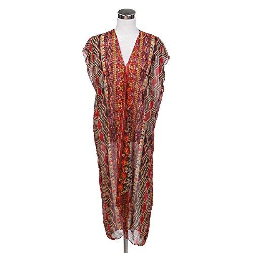 Silk Print Vest (TrendsBlue Long Bohemian Tribal Chiffon Sheer Kimono Wrap Vest Beach Cover Up, Red)