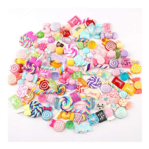 Anleymu 100 Pieces Candy Slime Charms Mixed Sweets Colorful Candy Resin Slime Beads Making Supplies for DIY Scrapbooking Crafts -