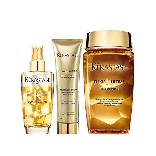 - Kérastase Elixir Ultime Huile Lavante Bain 250ml, Crème Fine 150ml And Fine Hair Oil 100ml Bundle (Pack of 4)