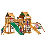 Gorilla Playsets 01-0006-AP Pioneer Peak Wood Swing Set with Wood Roof, Tire Swing, Clatter Bridge and Tower, Ramp, Slide, Two Swings, Amber