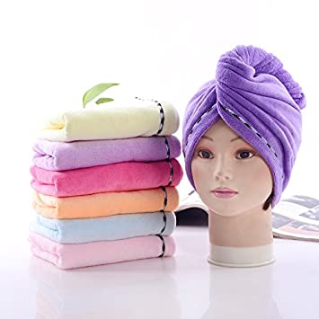 Microfibre Hair Towel Wraps Dry Hair Quickly Blue Pink Orange Hairwrap