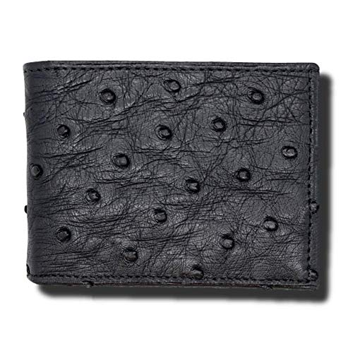 Black Genuine Ostrich Skin Wallet - RFID Blocking - American Factory Direct - Made in USA by Real Leather Creations FBA995