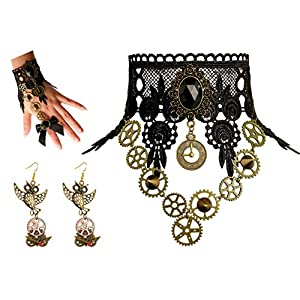 Zivyes Steampunk Accessories for Women Victorian Costume Gothic Lolita Choker Necklace Bracelet Earrings