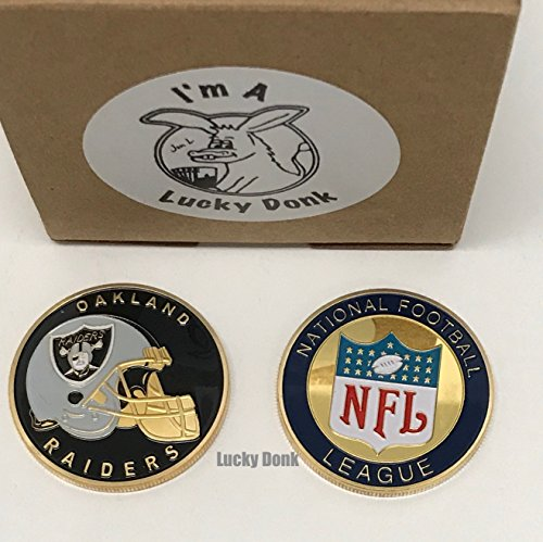 American Football Team Challenge Coin Oakland Raiders Poker Card Marker Collectible plus display case, and a Free Sticker by Lucky Donk
