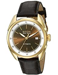 Bulova Mens Stainless Steel and Brown Leather Automatic Watch (Model: 64B127)