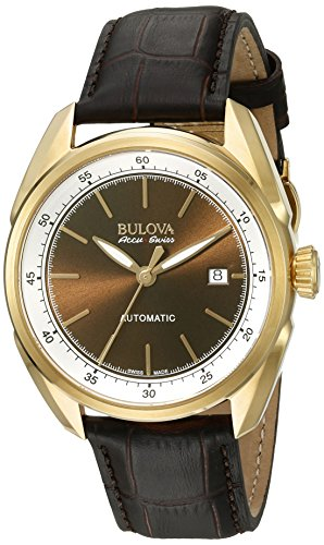 Men's Stainless Steel and Brown Leather Automatic Watch (Model: ) - Bulova 64B127