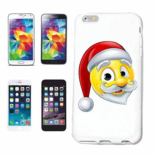 """cas de téléphone Samsung Galaxy S6 """"SMILEY AS SANTA CLAUS AVEC CHAPEAU ET BARBE """"smile EMOTICON APP de SMILEYS SMILIES ANDROID IPHONE EMOTICONS IOS"""" Hard Case Cover Téléphone Covers Smart Cover pour S"""