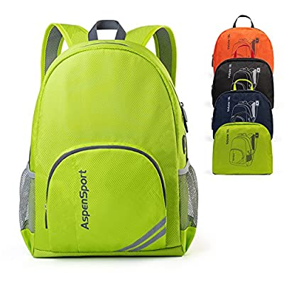 ASPEN Aspensport Lightweight Foldable Backpack Packable Small Travel Hiking Daypack with USB Port for Men & Women 18L Handy Camping Outdoor Bag