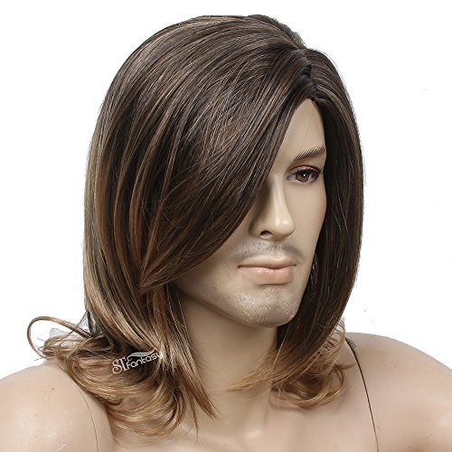 STfantasy Wig for Men Male Guy Medium length Long Curly Wavy Layered Cosplay Synthetic Hair with Cap (Brown Mixed Blonde)